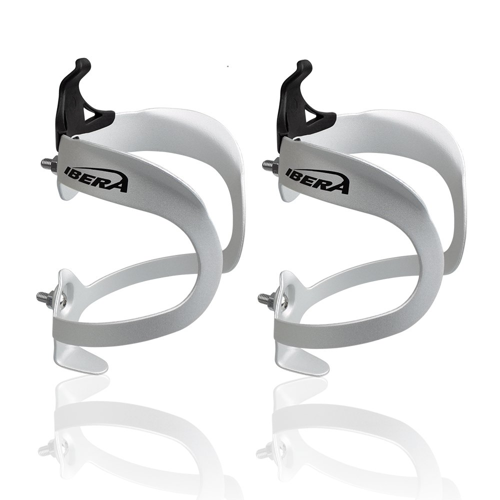 Ibera Bicycle Lightweight Aluminum Water Bottle Cage (Silver(Pair))