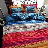 YOUSA 3Pcs Super Soft Cotton Bed Cover Set Boho Duvet Covers (King,02)