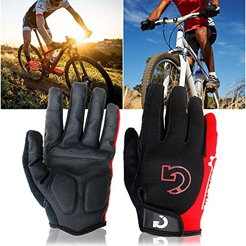 (GEARONIC TM Cycling Bike Bicycle Motorcycle Shockproof Foam Padded Outdoor Sports Half Finger Short Riding Biking Glove Working Gloves (Red Full Finger, Full XXL)