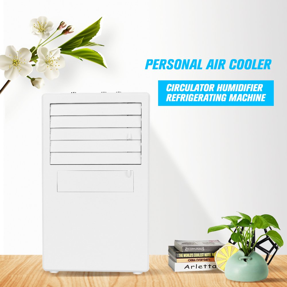OWSOO Personal Mini Air Conditioner Fan Air Cooler Circulator Humidifier Refrigerating Machine Quiet Small Desktop Fan with Power Adapter for Office, Dorm,Blue