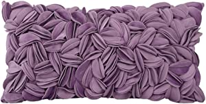 KINGROSE Hand Crafted Stereo Flower Throw Pillow Cover Rectangular Cushion Cover Soft Pillow Case for Sofa Couch Chair Bed Living Room Office 12 x 20 Inches Velvet Purple