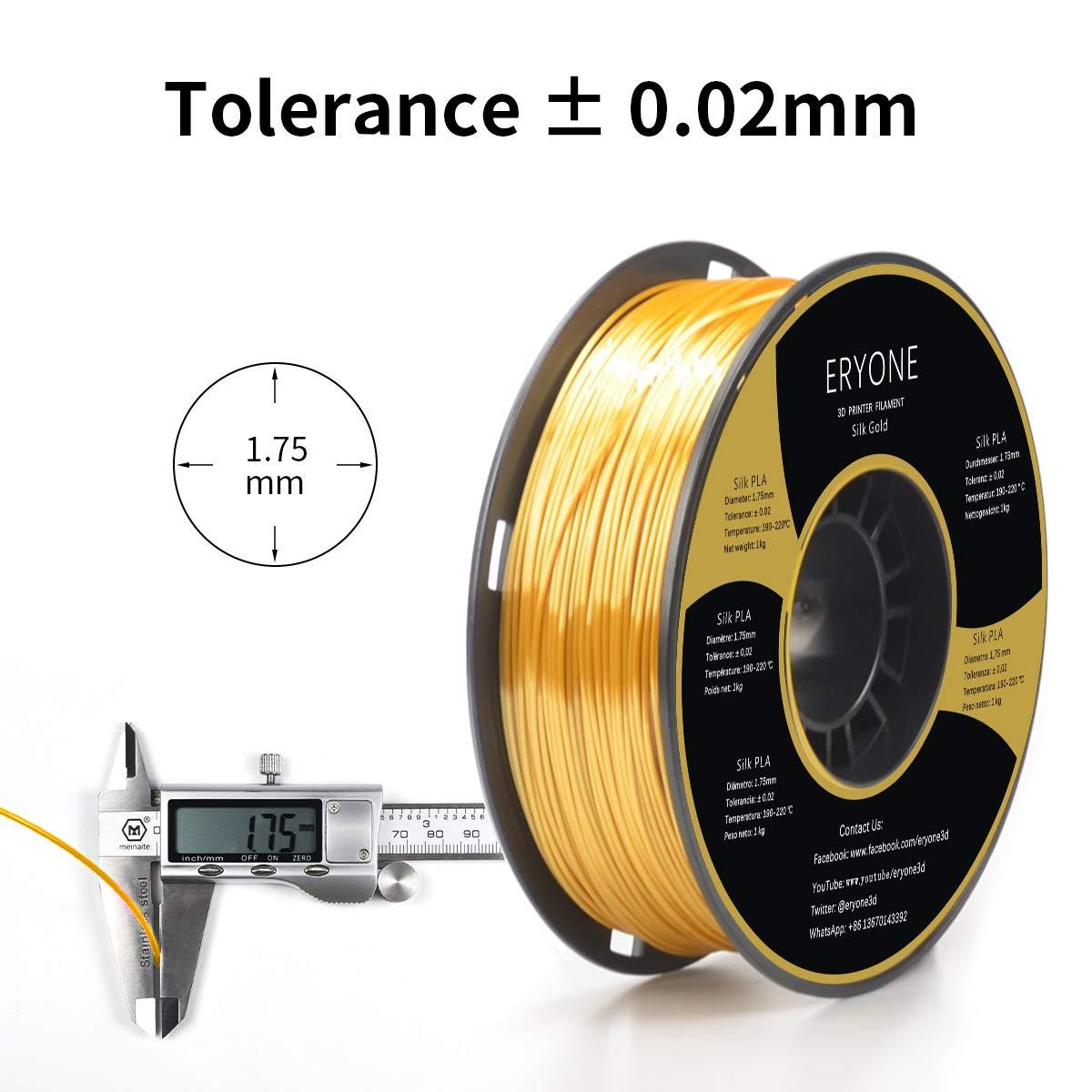 3D Printing Filament PLA for 3D Printer and 3D Pen ERYONE Silky Shiny Filament PLA 1.75mm PLA Filament 1.75mm Silk Gold 1kg 1 Spool