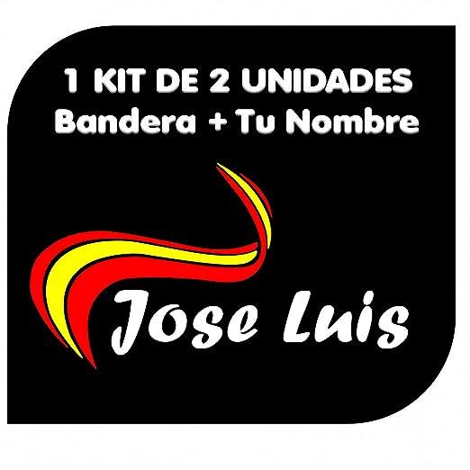x2 Pegatinas Vinilo Bandera España + tu Nombre - Bici, Casco ...