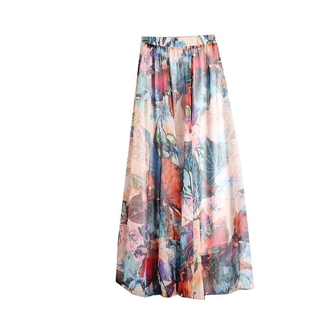 fcfdb09060 Womens Blending Chiffon Retro Long Maxi Skirt Vintage Dress,One Size,#20