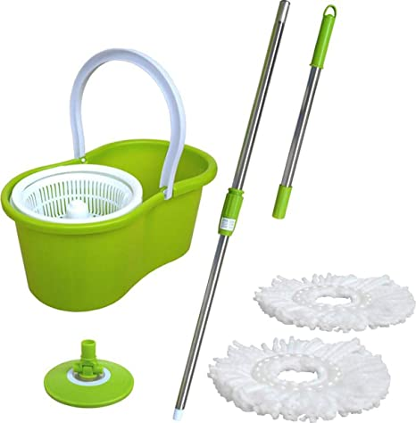 Akshat Popular Spin mop with Easy Wheels and Bucket for Magic 360 Degree Cleaning (Color as per Availability)
