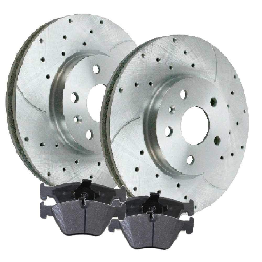 Stirling 2005 For Toyota Matrix Front Cross Drilled Slotted and Anti Rust Coated Disc Brake Rotors and Ceramic Brake Pads