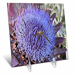 3dRose TDSwhite – Summer Seasonal Nature Photos - Floral Purple Artichoke Flower - 6x6 Desk Clock (dc_284512_1)