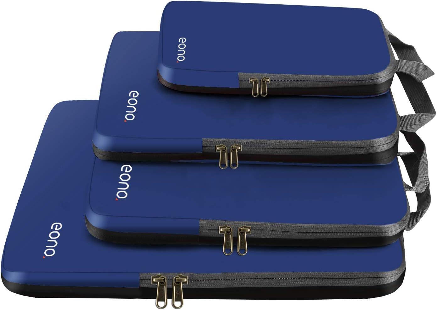 Eono by Amazon - Organizadores de Viaje de compresión expandibles, Impermeable Organizador para Maletas, Organizador de Equipaje, Cubos de Embalaje, Compression Packing Cubes, Navy, 4 Set