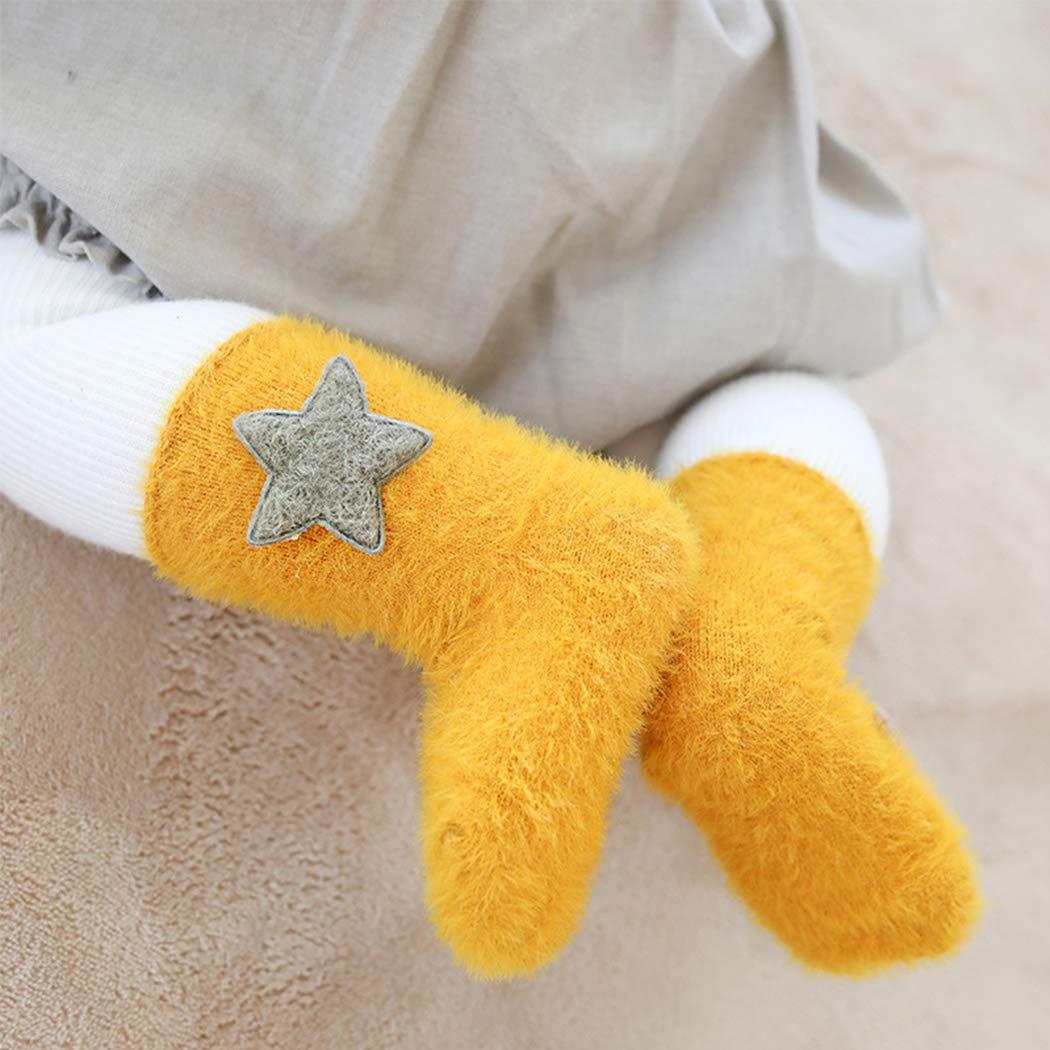 0-36 Monate Jungen M/ädchen Warm Wildleder-Garn Wadensocken Weich Angenehm ANIMQUE 2 Paar Baby Socken Winter S/ü/ß Cartoon Motiv