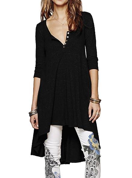 94809825c11 Naggoo Women's Half Sleeve High Low Loose Fit Casual Tunic Tops Tee ...