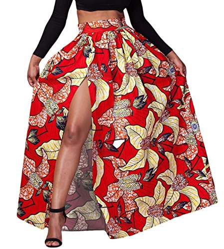Women's African Loose Dress Floral Printed Pleated Split Maxi Skirt High Waist A Line Dress Red Size 8-10 by FEOYA
