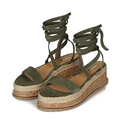 95213ba82ca0 Femme Sandale Bout Ouvert Ficelle Cravate Sandale Été Vacances Sandales  Romaines Talon Compensé Plateforme Sandale 5