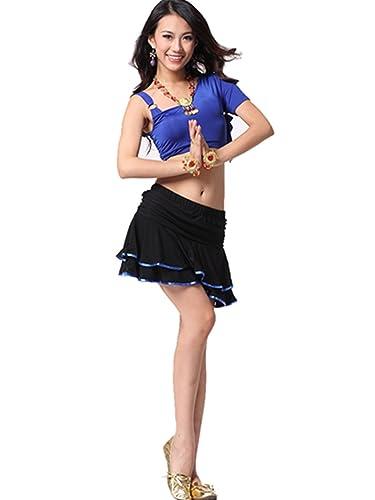 Ropa de baile Traje de danza del vientre Set Tribal Hombro único Top & Exotic Banded falda