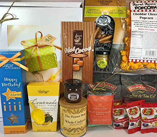 (Happy 40th Birthday Gift Box Basket - Send Gourmet Coffees, Teas, Pretzels, Mustard, Fudge Sauce, Cookies, Hot Cocoa, Candy, Popcorn, and Nuts - Prime Happy Birthday 40 Men Women)
