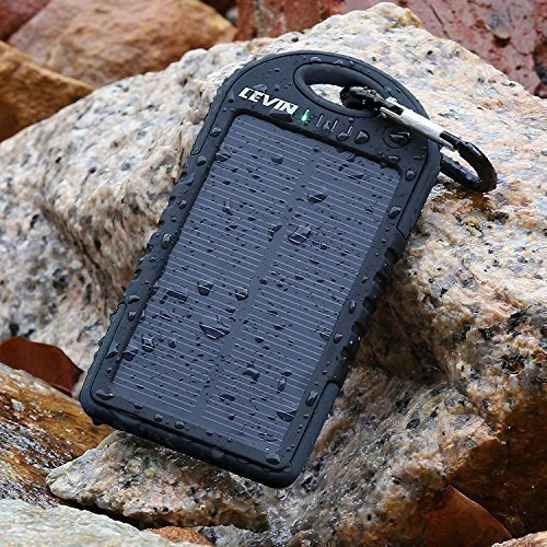 LevinTM Caricabatteria Pannello Solare 5000mAh Resistente Alla Pioggia E  Sporco/Antiurto Dual USB Port Portatile