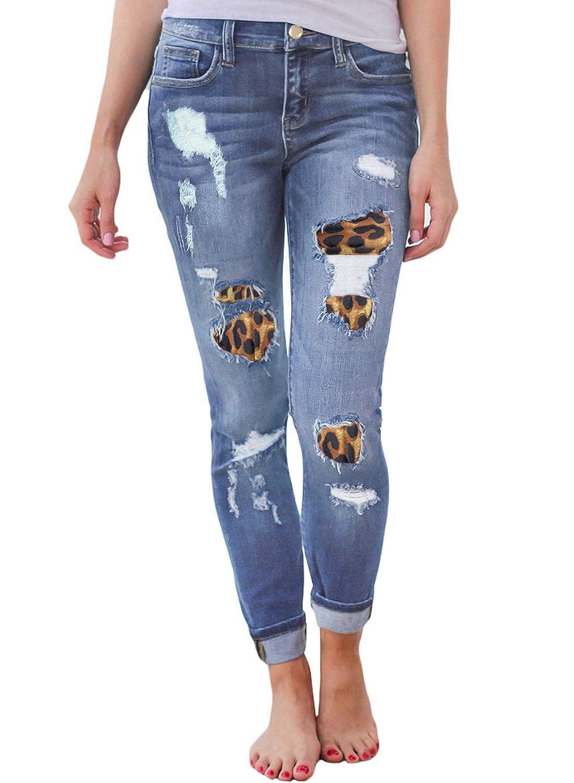 c6623bc652af5 Sidefeel Women Vintage Denim Destroyed Ankle Length Skinny Jeans