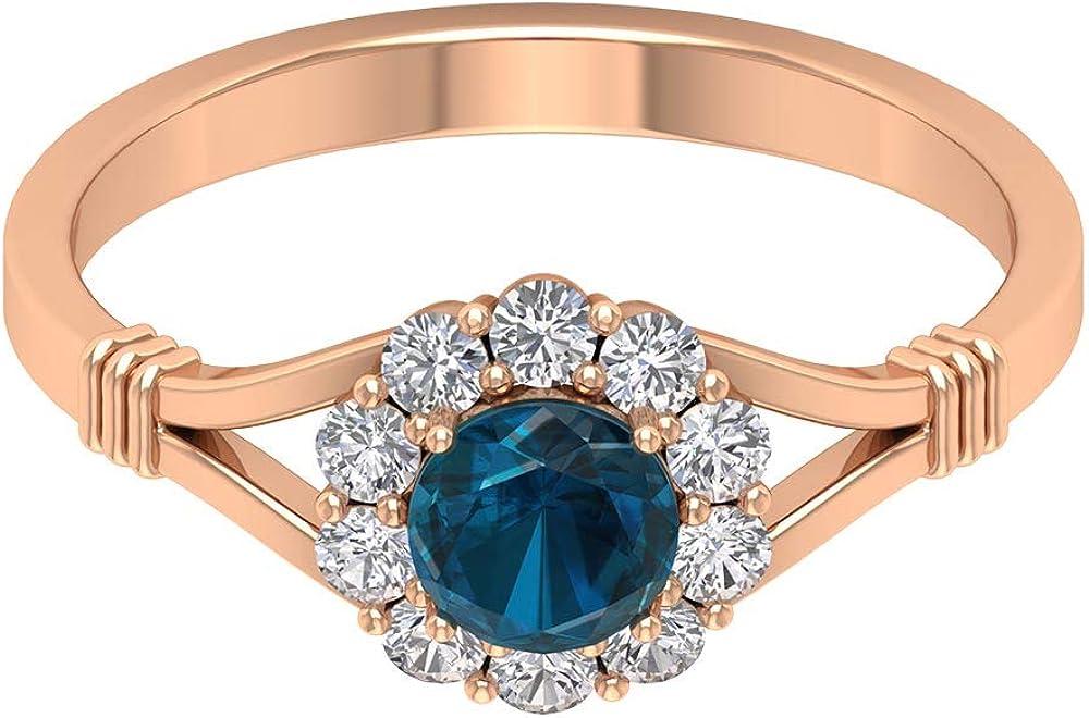 Anillo de novia solitario de topacio azul de 1/2 ct, anillo de diamante antiguo de halo dividido, anillo de solitario de piedra preciosa certificada, 10K Oro