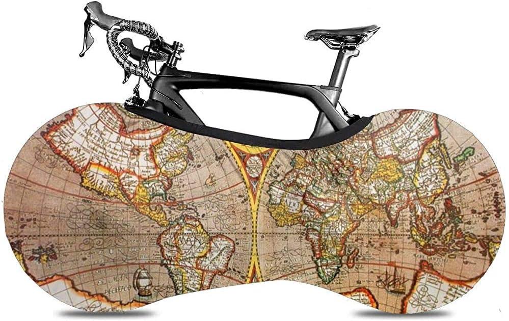 Cubiertas De Bicicleta Adecuadas para Bicicletas Plegables O Bicicletas De Carreras Bicycle Wheel Cover,Vintage World Map Todas Las Bicicletas Cubierta De Bicicleta