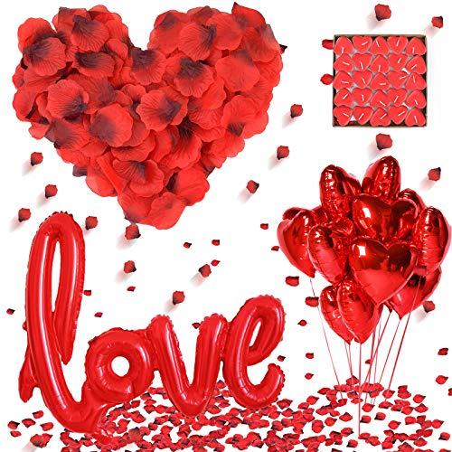 DASIAUTOEM Kit Romántico de Velas y Pétalos,1000 Piezas Pétalos de Rosa, 50 Velas en Forma de Corazón y 10 Globos Corazón Rojo, 1 Globos en Forma de Amor para Bodas Decoración, Fiestas, Proponer