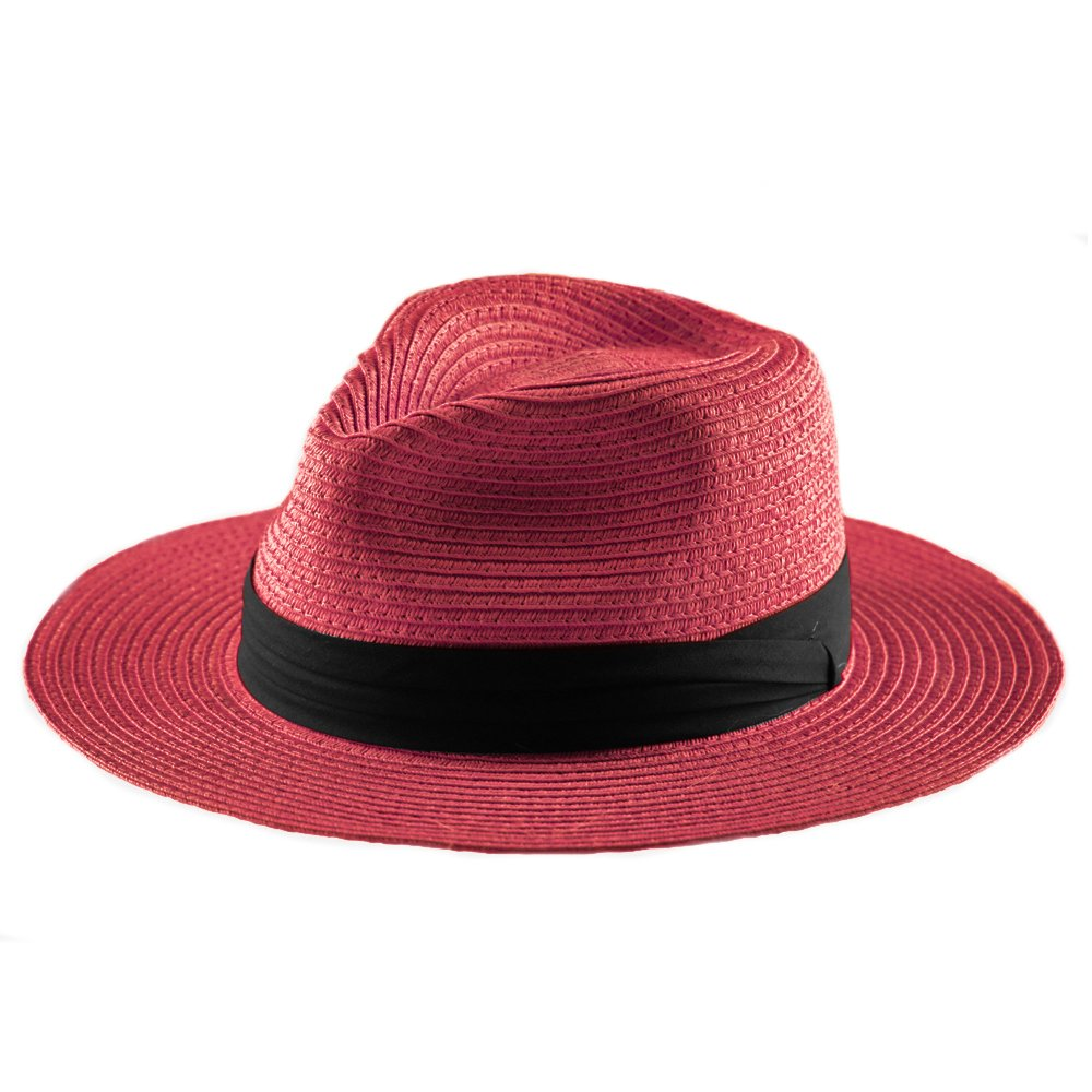 Panama Straw Hat,Women Sun Hats Wide Brim Floppy Foldable Summer Fedora Beach Cap Sun Protection(A9-Red)