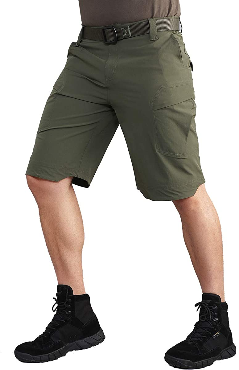 CARWORNIC Mens Quick Dry Tactical Shorts Lightweight Stretch Outdoor Hiking Cargo Shorts with Multi Pockets
