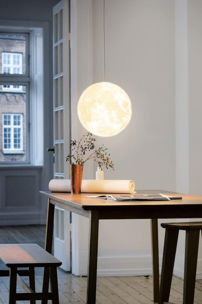 KUNGKEN Lighting Chandelier LED 3D Printing Moon Lamp Warm and Cool Light for Kitchen Restaurant Cafe Hotel Foyer Decoration 12IN