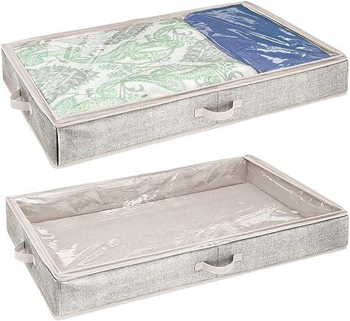 mDesign Juego de 2 Cajas organizadoras para almacenaje bajo la Cama – Organizador de Ropa, sábanas, etc.
