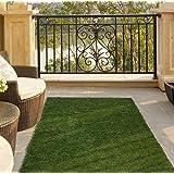 "Ottomanson Garden Grass Collection Indoor/Outdoor Artificial Solid Grass Design Runner Rug, 20"" x 59"", Green Turf"