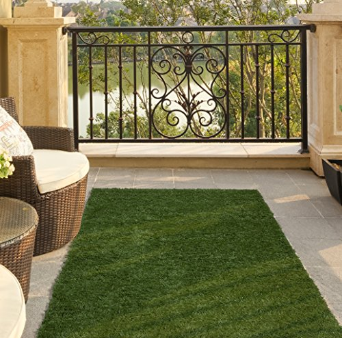 Ottomanson Garden Grass Collection Indoor/Outdoor Artificial Solid Green Turf Runner Rug, 2'7