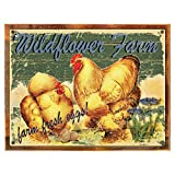 Cheap Wildflower Farms Fresh Eggs Metal Sign Framed on Rustic Wood, Rustic Country Kitchen, Barn, Den Décor