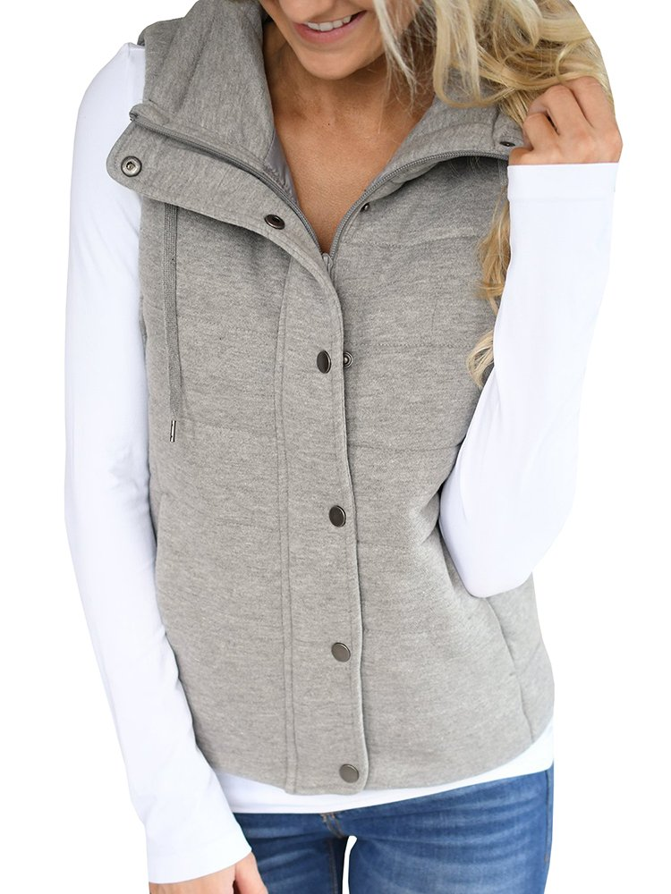 Valphsio Women Lightweight Quilted Padded Vest Stand Collar Zip up Front Gilet Quilted