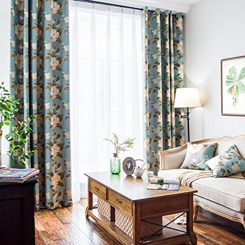 VOGOL Balcony Curtain Jacquard Floral Elegant Blackout Curtains, Grommet Window Panels Drapes Living Room Bedroom, One Panel, W52 x L84 inch, Light Blue