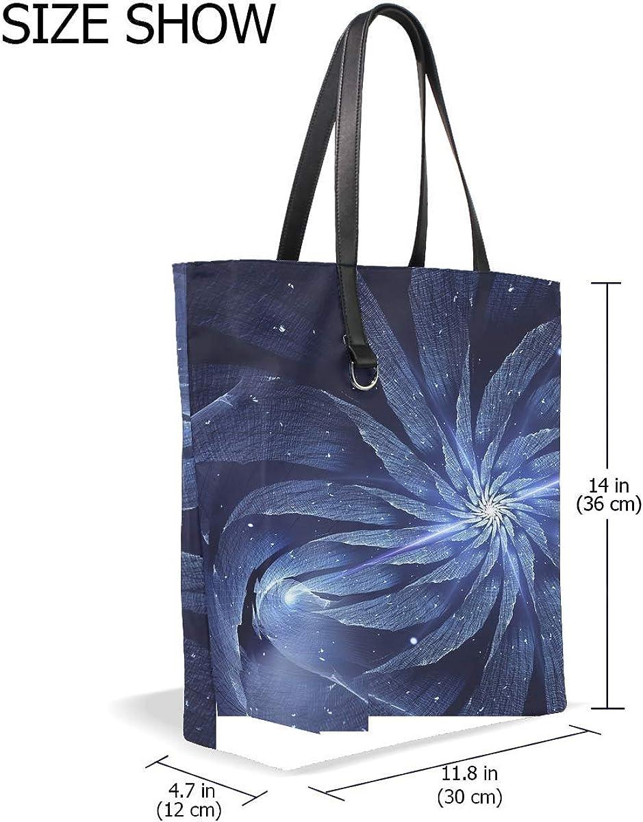 Abstract Flower Fractal Rotation Tote Bag Purse Handbag For Women Girls