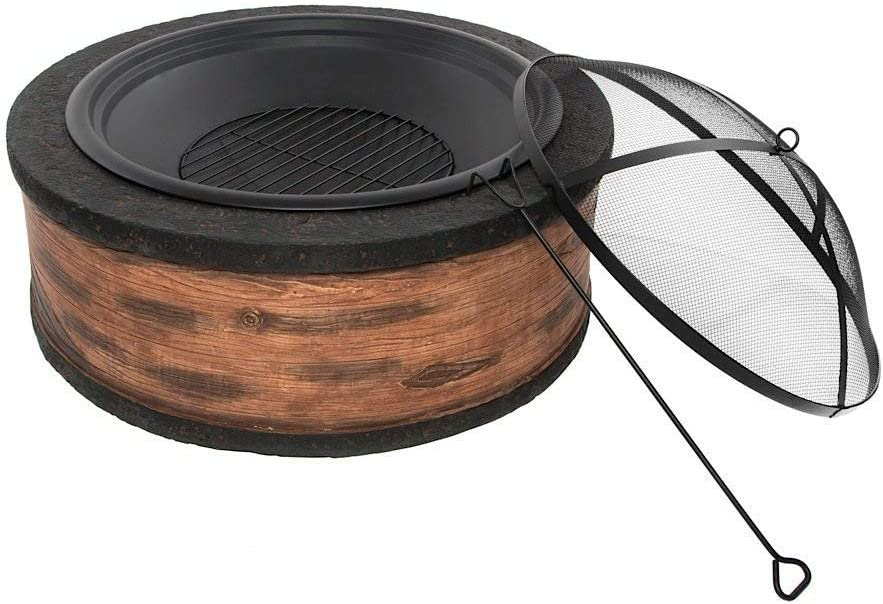 Rustic Brown Wood Burning Fire Pit 35 Diameter Steel Base w 26 Mesh Screen Spark Protector w Lift Hook, Large Heat Resistant Fire Bowl, Appealing Rustic Wood Simulated Base