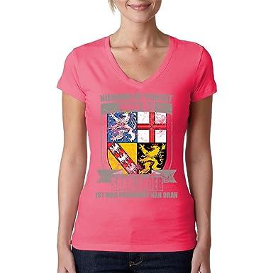 Fun Sprüche Girlie V-Neck Shirt - Perfekter Saarländer Wappen by Im ...