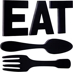 Sankell EAT Sign + Fork and Spoon Kitchen Wall Decor, Rustic Black Cutout Wooden EAT Letters, Large Wood EAT Country Wall Art Decoration, Farmhouse Decorative Wall Hanging EAT Set for Home/Dining Room