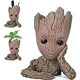 Pawaca Flowerpot Groot Cartoon Flowerpot Baby Action Figures Guardians of The Galaxy Green Plants Flower Pot with Hole Pen Holder Best Gifts For Kids