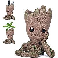 Pawaca Pot de Fleur Groot Dessin Animé Figure Pot de Fleurs en Pot de Jardin avec Trou Stylo Titulaire Cadeaux pour Enfant
