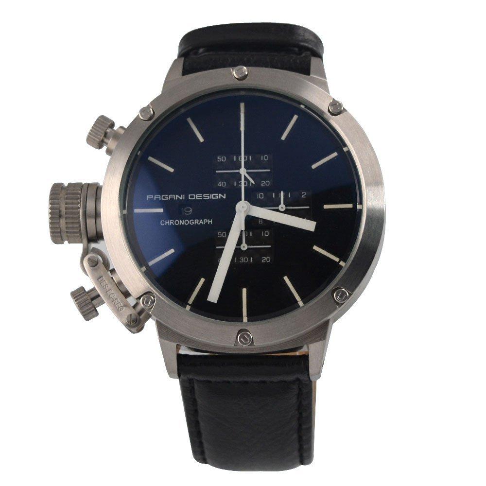 Pagani Design 50mm Black Dial Stopwatch Chronograph Japan Quartz Big Face Watch