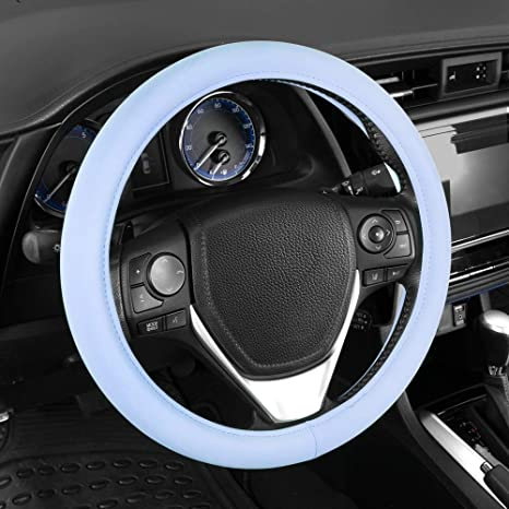 Universal Size 14.5 15 15.5 Inch SISW-2211-BL BDK Sharper Image Ultra Soft Comfy Leather Grip Steering Wheel Cover Baby Blue