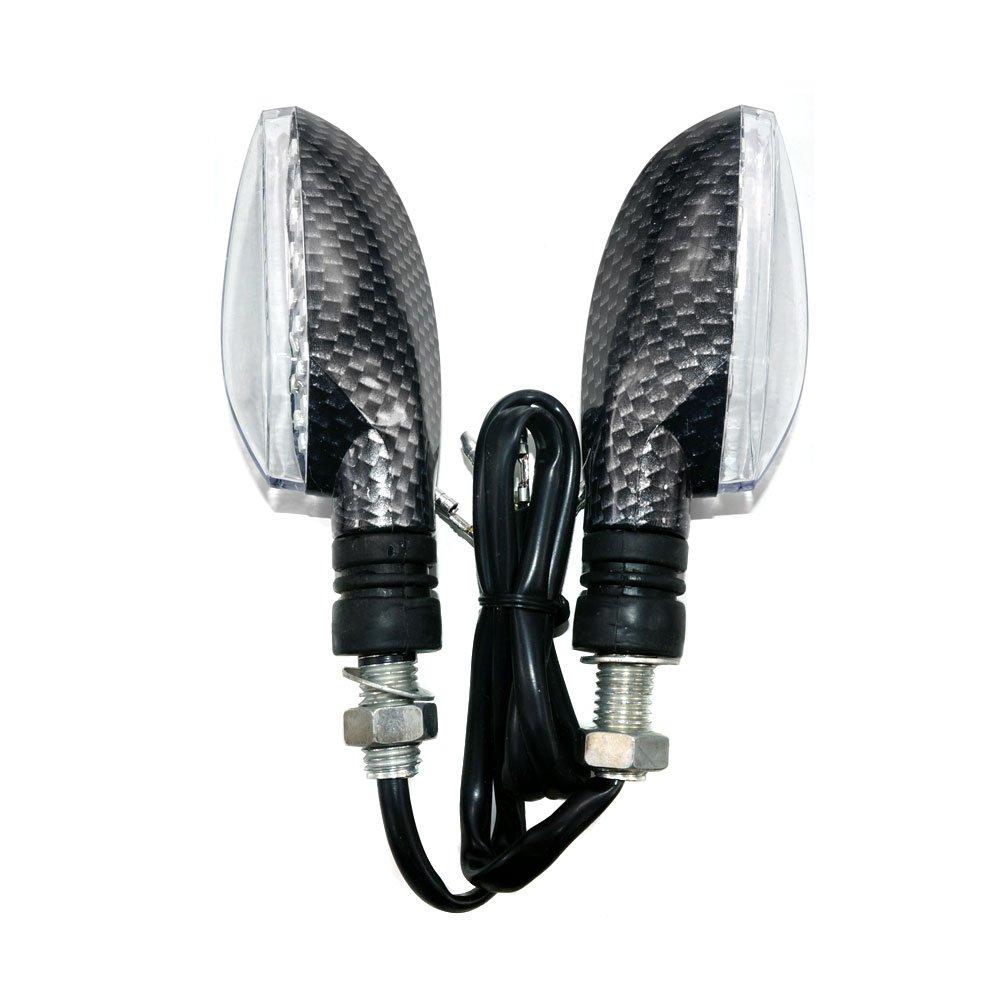 MYK Powersports LED Turn Signal Indicator Blinker Light Universal For Motorcycle Sport Street Racing Bike - Carbon Fiber Finish (#9711) by MMG (Image #2)