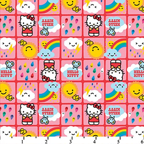 Hello Kitty Rain Or Shine Hot Pink HK-19 100% Cotton Fabric Quilt Prints 44/45