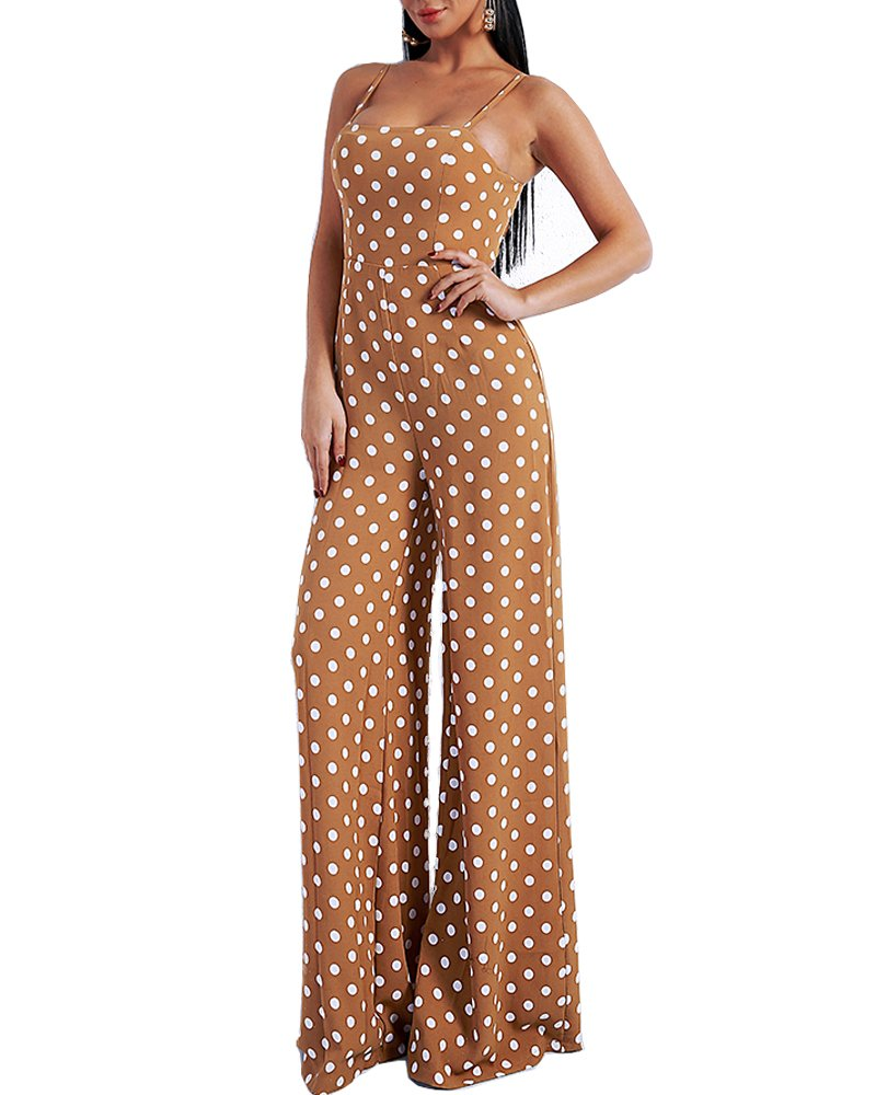 Womens Sexy Dot Rompers Backless Off Shoulder Spring Summer Lace up Jumpsuit Apricot Large