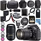 Nikon D810 DSLR Camera w/ 24-120 VR Lens 1556 + Nikon 55-300mm f/4.5-5.6G ED VR Lens + 77mm 3 Piece Filter Kit + EN-EL15 Lithium Ion Battery + External Rapid Charger + Sony 128GB SDXC Card Bundle