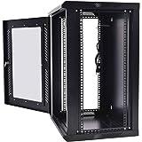 Safstar Wall Mount Network Server Data Cabinet Enclosure Rack Glass Door Lock w/ Fan (18U)