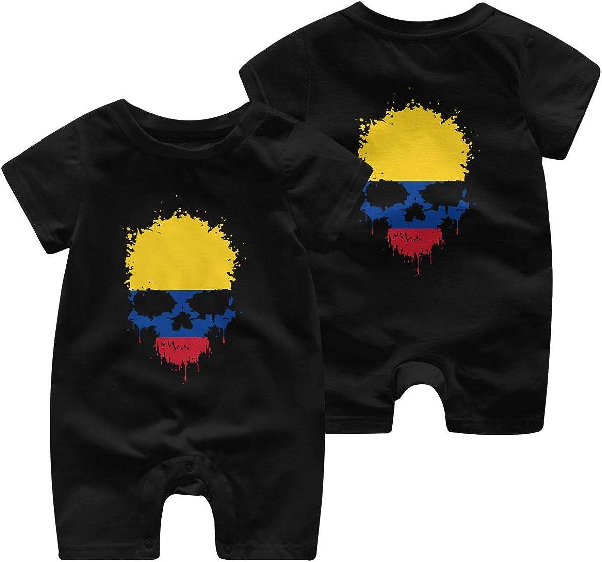 AYL8pf Colombia Flag Splatter Skull Baby Girl Short Sleeve Jumpsuit One Piece Toddler Jumpsuit