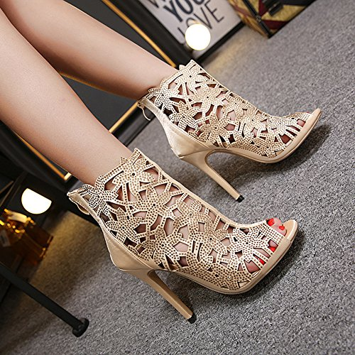 Club Sandalias Bombas Peep Tacones Out Roman Ladies Gold Altos Rhinestone Cut Summer Shoes Boot Toe Women's Discoteca Z6ZqSw70