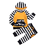 Gogoboi Toddler Infant Baby Girls Boys Striped Long Sleeve Hoodie Tops Sweatsuit Pants Outfit Set (Yellow, 3-6 Months)