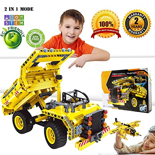 TUIY Building Blocks Set STEM Toy, 361pcs Engineering Bricks Construction Kit, Educational Building Dump Truck and Airplane for Kids Age 5-10, Best Birthday/Christmas Gifts for 6, 7 and 8 Year Old Boy