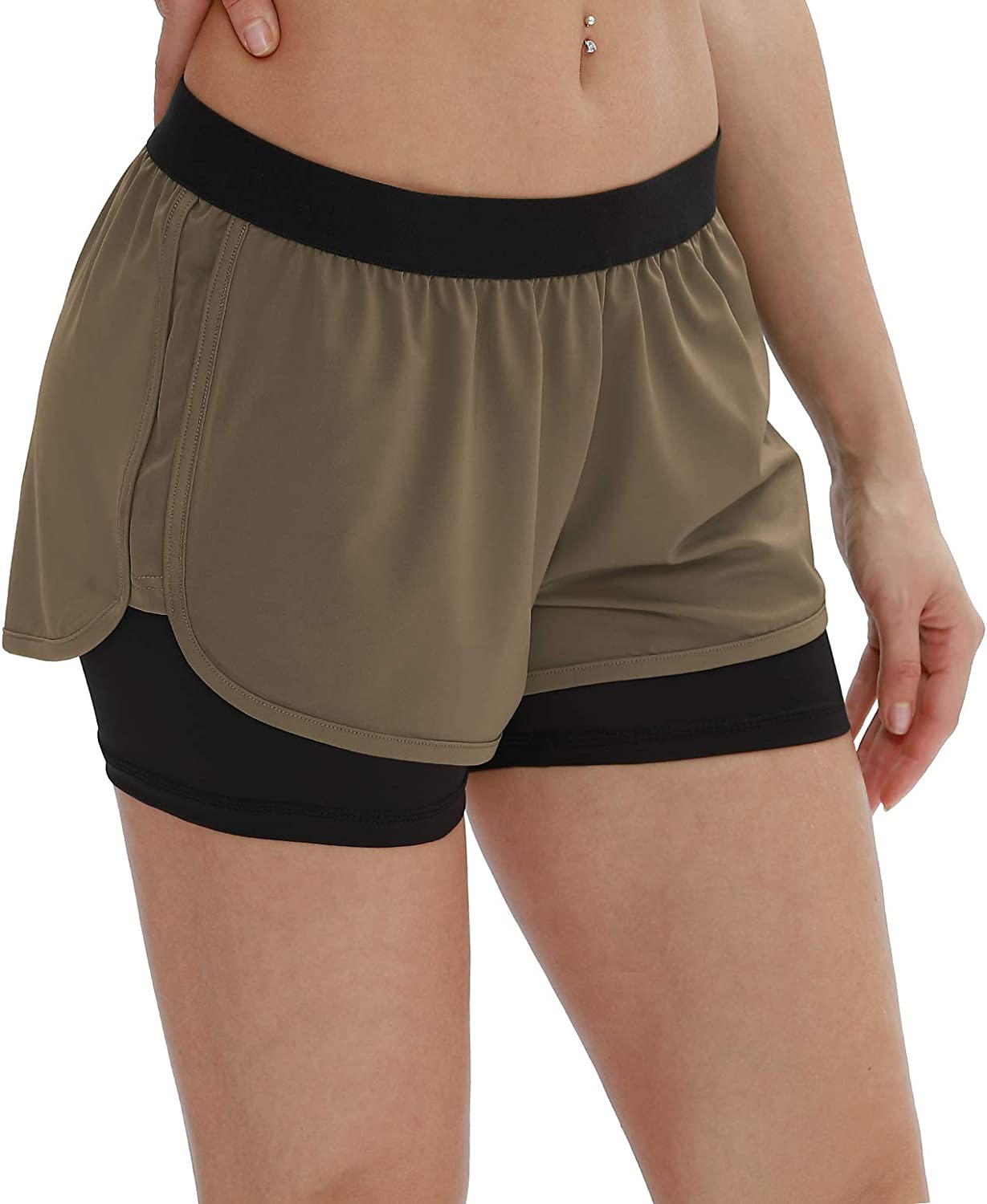 icyzone Womens 2 in 1 Running Sports Shorts Quick Dry Workout Jogging Pants Athletic Shorts